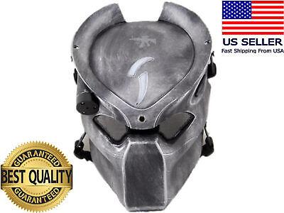 Airsoft Mask Full Face Alien Predator Eye Mesh Protection Tactical w/4 LED Light