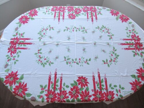 Vintage Christmas Tablecloth Candles Pinecones Poinsettias Holly 59x50 1/2