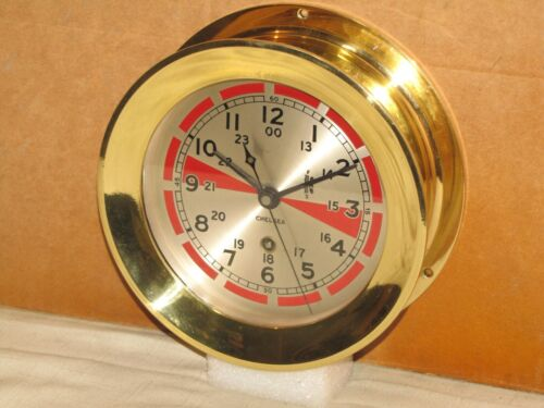 "CHELSEA ANTIQUE SHIPS RADIO ROOM CLOCK~6"" DIAL~1937~WW2 ERA~RESTORED"