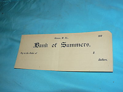 Antique Vintage Bank Check Bank of Summers W. Virginia