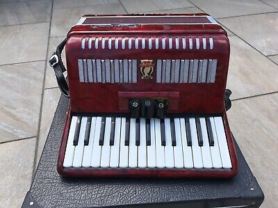 Parrot Red Piano Accordion With Box