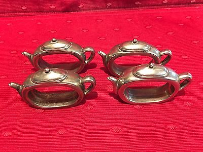 Adorable Silver-plate Teapot Napkin Rings Set of 4