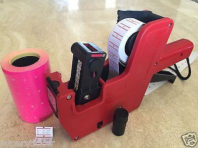 Us Seller Mx-5500 8 Digits Price Tag Gun Labeler 2000 Pink Tag Labels 1 Ink