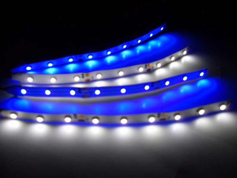 """6"""" RC Blue and White Underbody LED Strip Lights Superbright FPV Quadcopter 4pc"""
