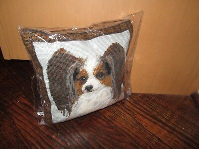 PAPILLON  Dog Handmade Needlepoint Pillow 10 by 10 NWT