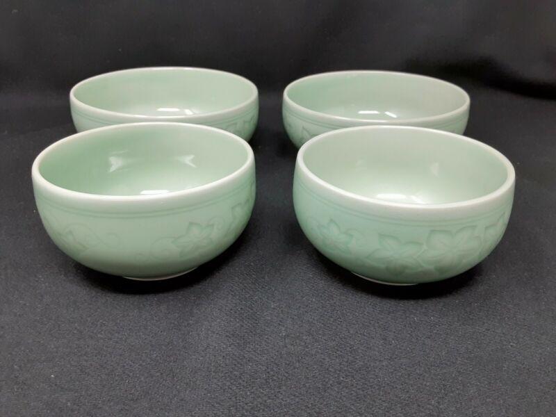 Vintage Korean Celadon Bowl by Cucumber Vine Motif by San Han Ceramics (4)