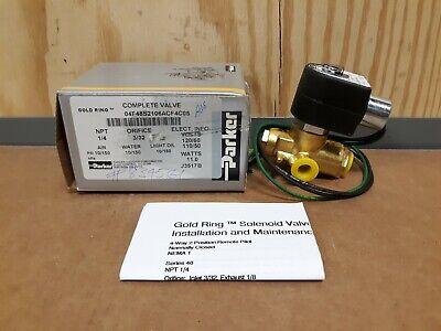 Nos Parker Gold Ring Solenoid Valve 04f48s2106acf4c05 110120v Coil M164