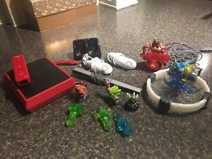 Red Wii Mini with Skylander Dock and Accesories