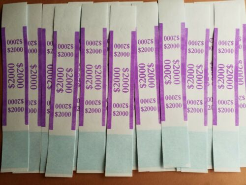 100 New Self Sealing Purple $2000 Straps Currency Bands for cash money bank bill