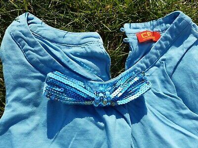 Mädchen Ballonkleid Shirtkleid CFL türkis Pailletten Gr . 128 134 140 -Top