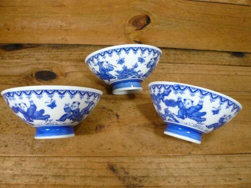 Japanese 3 Fine Porcelain Footed Soup Bowls Boys & Butterflies Blue & White