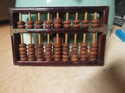 VTG ANTIQUE Lotus-Flower Brand 7 RODS 49 BEADS ABACUS People's Republic Of CHINA