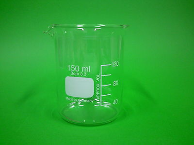 Becherglas, Boro 3.3, niedere Form, Inhalt 150 ml, Bechergläser
