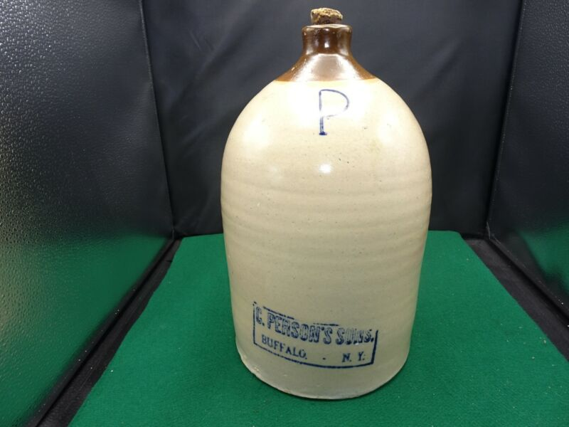 """C. PERSON'S ADVERTISING TWO TONE BROWN STONEWARE JUG 14"""""""