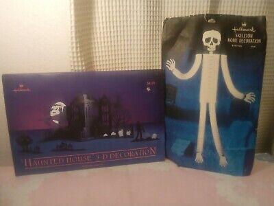 Vintage Hallmark 6 Foot Skeleton ×2 & Haunted House~ Home Decoration Halloween