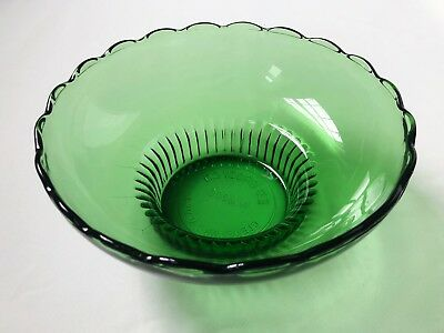 Vintage EO Brody Co. Cleveland, OH, M2000 Green Glass Scalloped Pedestal bowl