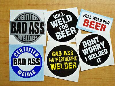 Funny Hard Hat Stickers Bad Ass Welder Weld For Beer Certified Welding Decals