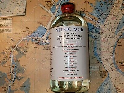 DT NITRIC 70% ACID, 32oz,GLASS BOTTLE HIGH PURITY HNO3 FOR GOLD REFINING