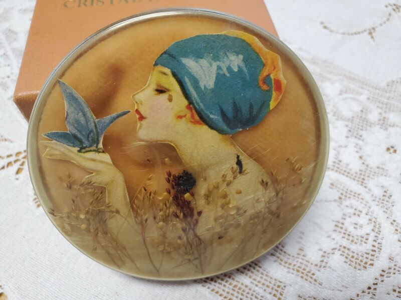 Vtg. Art Deco Celluloid Milkweed Powder Jar Vanity Box Woman Holding Butterfly