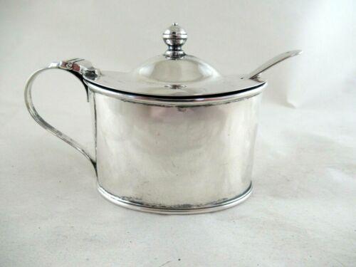 Antique Solid Silver  OVAL MUSTARD + SPOON  Hallmarked:-SHEFFIELD 1912