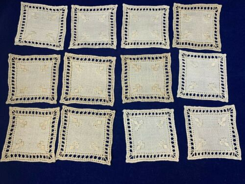 12 Vitg Small Square Tablecloth Inserts Lefkara Hand Embroidery Island of Cyprus