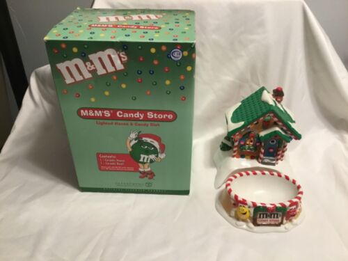 Department 56 M&Ms Lighted Candy Store and Dish Bowl Christmas Village House