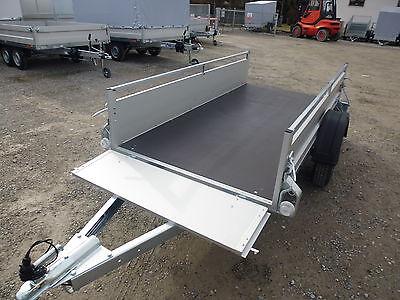 ALU Pkw 2,5m Anhänger NEU sehr stabil 750kg für Garten klappbare Vorderwand