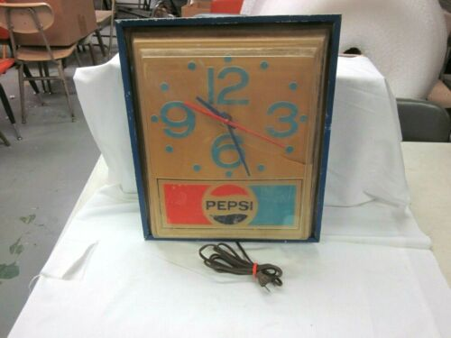 "Pepsi-Cola Light Up Clock, Vintage Item CLOCK WORKS NEEDS BULBS 16"" X 14"""