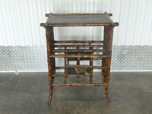 VICTORIAN TORTOISE SHELL JAPANNED BAMBOO MAGAZINE STAND # 2