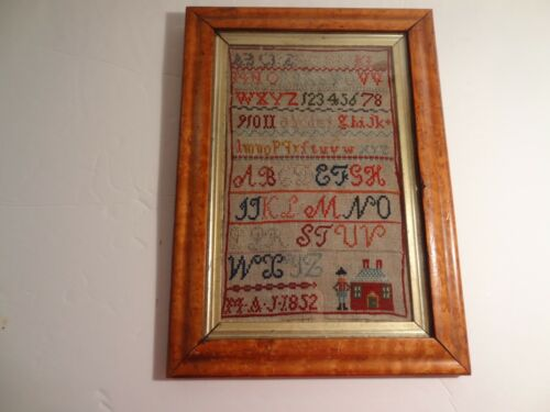 Antique English Sampler Embroidery c.1852 Birdseye Maple Frame Ex Cond