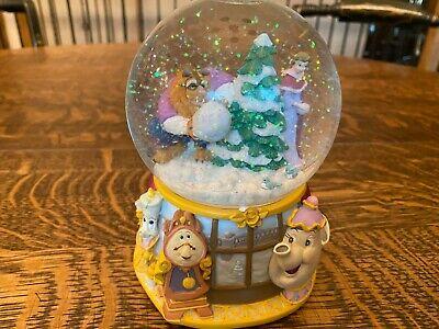 Vintage Beauty and The Beast Enesco windup Snow Globe plays Minuet #1