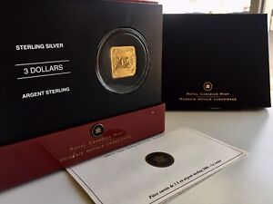 2006 Canada Mint Rare $3 Square Sterling Silver 24k Gold Plated