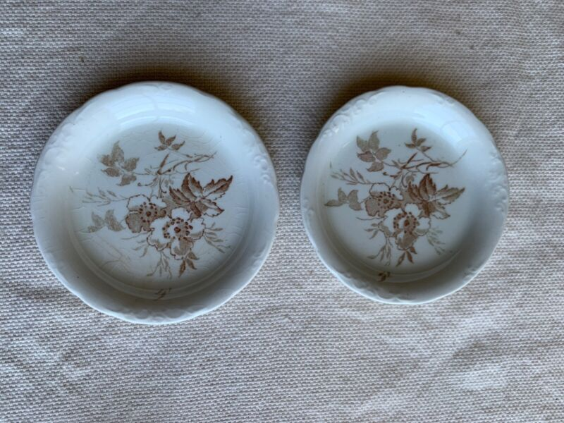 "2 Vintage Antique Brown Transferware Butter Pats ""Brier"""