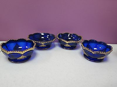 4 VNTG NORTHWOOD REGENT LEAF MEDALLION COBALT BLUE GLASS BERRY BOWLS GOLD *RARE*