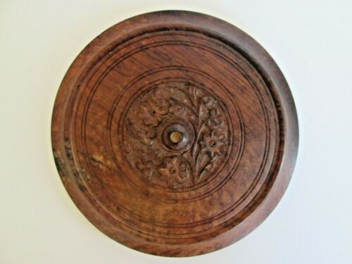"""Hand Carved Lid Only Round Wood Floral 7.25"""" Pot Pan Wooden  Inside is 6.5"""" Knob"""