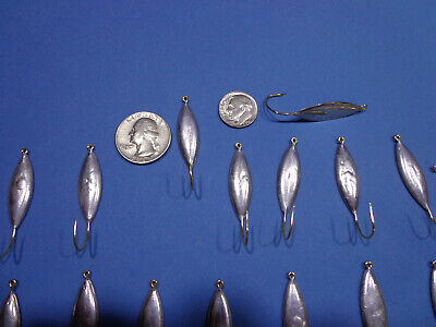 25 Shad Herring Flutter Spoons #1 Willow Leaf Blade Smooth Chrome W Split Ring