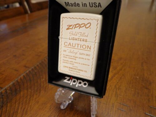 GOLD FILLED ZIPPO VINTAGE INSTRUCTIONS AD ZIPPO LIGHTER MINT IN BOX