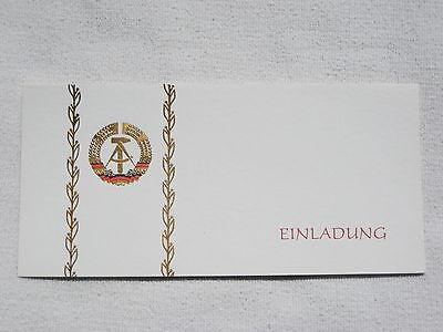 DDR GDR Botschaft in England Einladungskarte Einladung mit Staatswappen golden