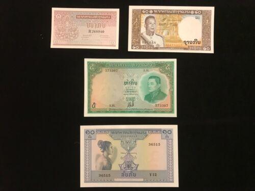 LAOS  Vintage  Paper Money 4 piece money lot  1- 20 Kip real nice Condition