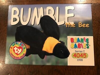 TY Beanie Baby BBOC ***CARD ~ Series 1 Common ~BUMBLE the Bee Mint