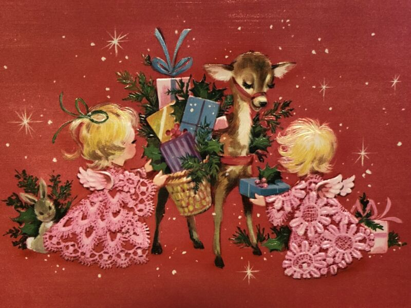 Vintage Christmas Card 1960s MCM Embossed Pink Mod Angels Reindeer Unused