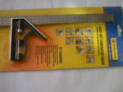 12inch HEAVY DUTY COMBINATION ENGINEERS SQUARE MEASURE TRY RULE SCRIBER SCRIBE