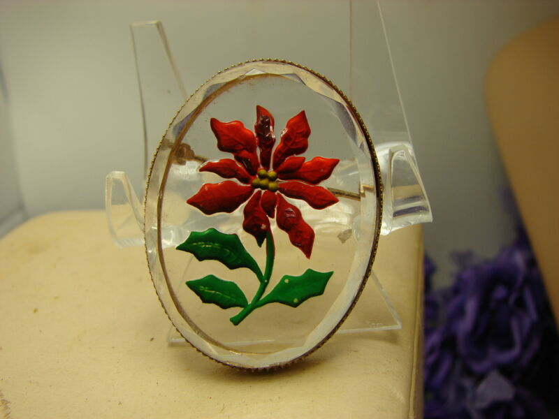 Vintage Reverse Painted On Faceted Glass Poinsettia Flower Bezel Set Brooch