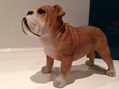 Fawn & White English Bulldog Ornament Dog Figure Figurine Model Gift Present