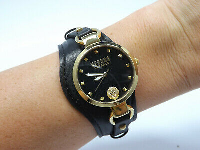 Versace Versus Roslyn Black Leather Watch, SOM120016, New Battery, with box