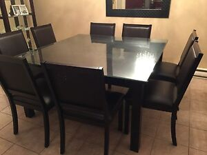 BERMEX Square Table with 8 chairs, buffet and Mirror