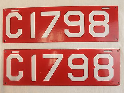 Pair of Antique Porcelain 1910 Connecticut License Plates C1798 White on Red