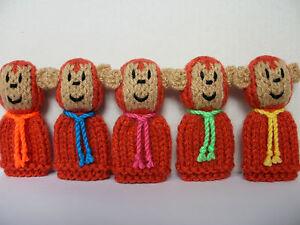 5 Little Monkeys - Hand Knitted Finger Puppet Toys / Animals - NEW
