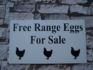 Free Range Eggs For Sale Sign/Plaque 300 x 170 x 5 mm ridged