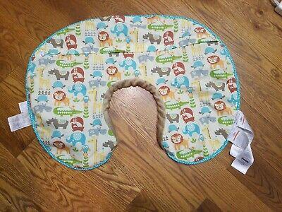 Original Boppy Nursing Pillow Cover Slipcover Safari Print Tan Plush Back K